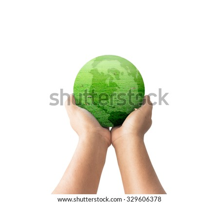 A green earth globe of grass in human hands isolated on white background. World Environment Day, Ecological city, Go Green, Earth Hour, Eco Friendly, Trust, Ecofriendly concept. - stock photo