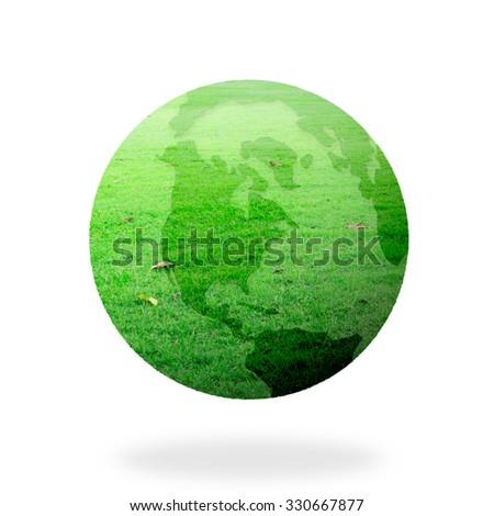 A green earth globe of grass isolated on white background. World Environment Day. Ecological city concept.
