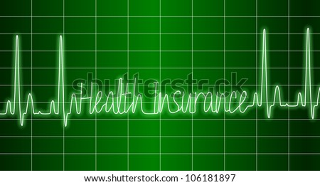 a green ECG monitor spelling words health insurance / health insurance ECG