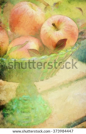A green glass centerpiece filled with harvest apples turned into a colorful autumn painting