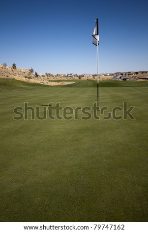 A green golf course with blue skies.
