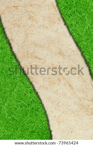 A green grass sand curve isolated