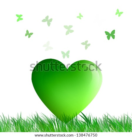 a green heart with butterflies for ecology - stock photo