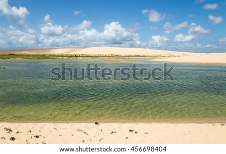 A green lagoon in the middle of the dunes.