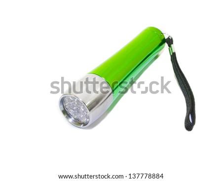 A green LED flashlight isolated on white background - stock photo