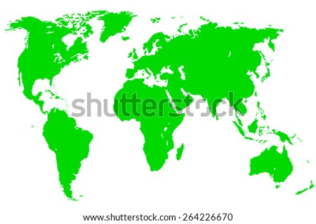 a green map of the world, isolated, clipping path - stock photo