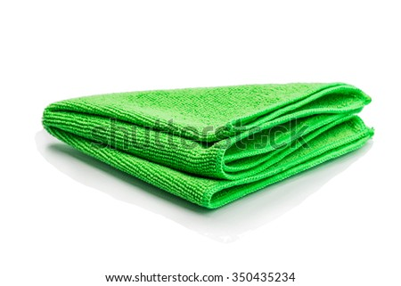a green microfiber cleaning towel, over white background