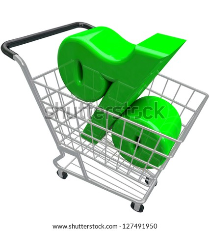 A green percent or percentage symbol in a shopping cart to represent comparison hunting for the best or lowest interest rate or inflation affecting prices for products you want to buy - stock photo