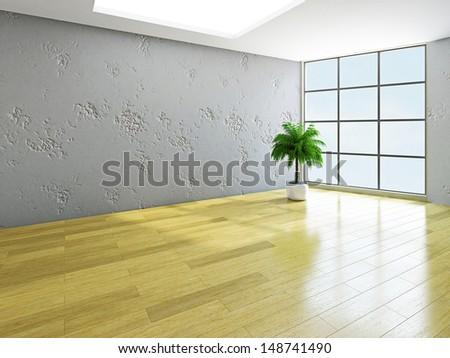 A  green plant near the concrete wall - stock photo