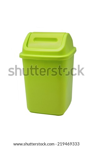A green plastic benchtop bin on a white background.