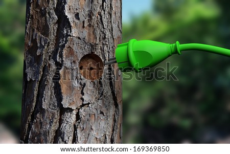 A green power outlet stands for connecting to a tree - stock photo
