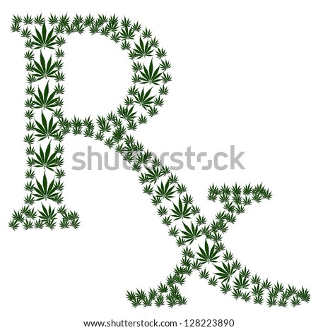 A green prescription shaped symbol made from marijuana leaves isolated on a white background, Marijuana prescription - stock photo