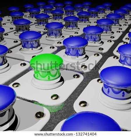 A Green push button among many blue ones