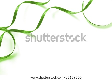 a green ribbon isolated on white background