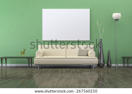 A green room with a sofa and background for your own content - stock photo