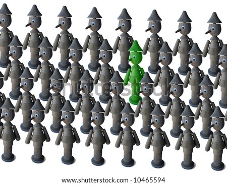 A green short nosed Pinocchio among antural wood colored long nosed ones - stock photo