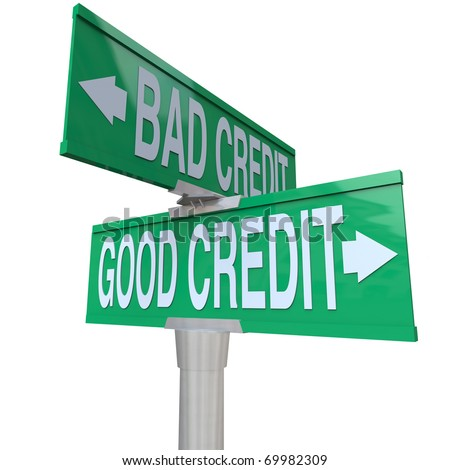 A green two-way street sign pointing to Good Credit and Bad Credit - stock photo