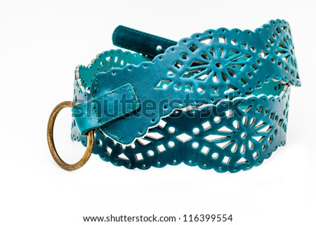 A green women belts on a white background - stock photo