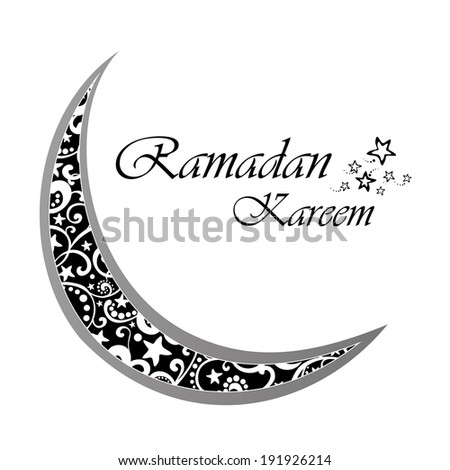 A greeting card template 'Ramadan Kareem'. White background with isolated icon for ramadan kareem.  Illustration  - stock photo