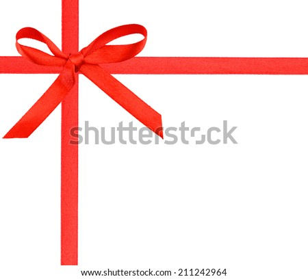 A greeting wrapping ribbon and tied bow - stock photo