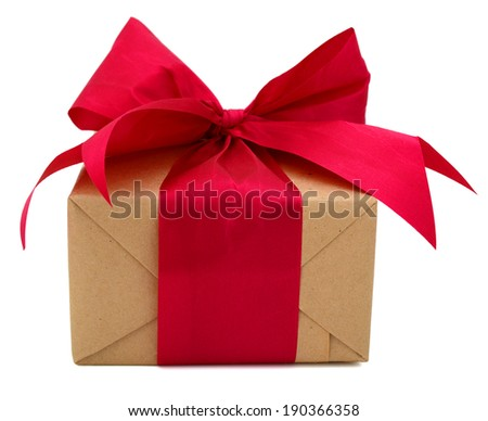 A greetings gift box with red ribbon - stock photo