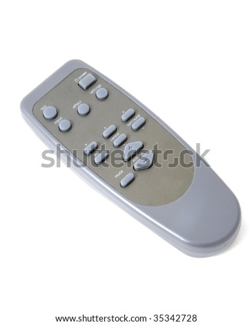 A grey and simple remote control on a white background - stock photo