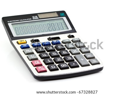 A grey calculator isolated on a white background. - stock photo