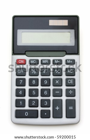 A grey calculator isolated on a white background, calculator