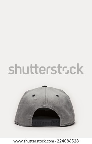 A grey cap back side view isolated white background. - stock photo