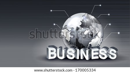 A grey globe sitting on top of the word business.