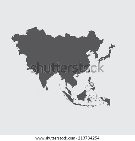 A Grey Illustration of the outline of the continent of Asia - stock photo