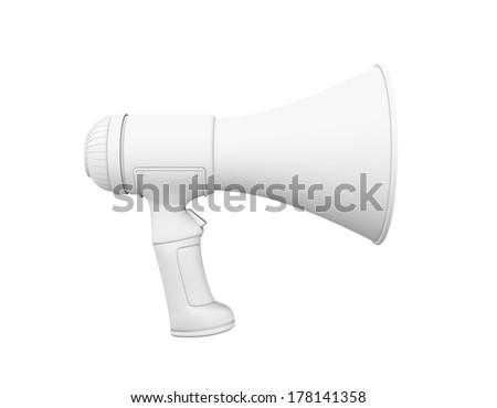 A grey Megaphone on a white background, profile. - stock photo