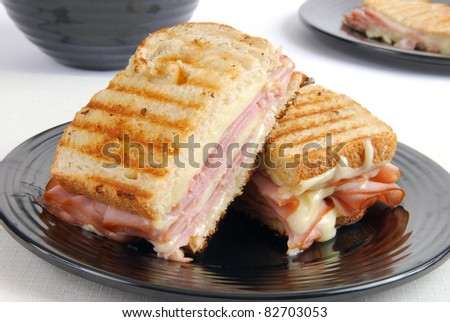 A grilled ham and cheese sandwich - stock photo