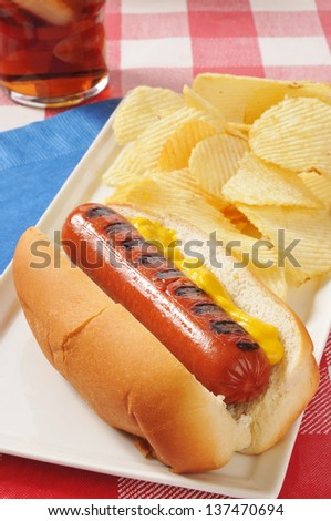 A grilled hot dog with mustard and potato chips - stock photo
