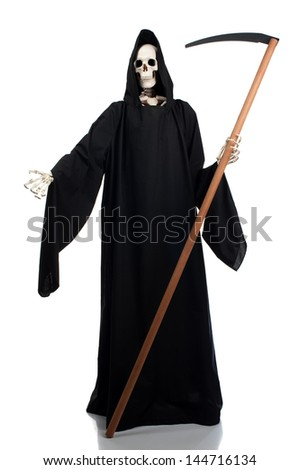 A grim reaper invites anyone to join him. - stock photo