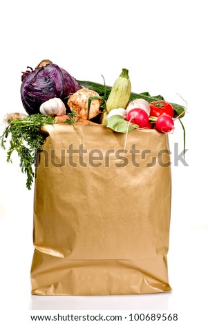A grocery bag full with fresh vegetables isolated on white background - stock photo