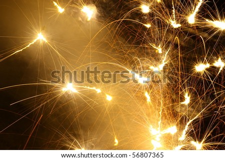 a ground style firework display for use as a background with room for your text - stock photo