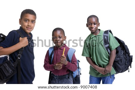 A group of african american students ready for school. Education, learning