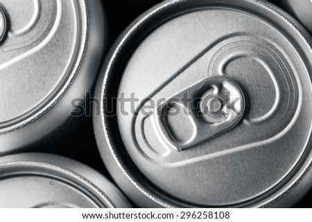 A group of aluminum drinks cans - stock photo