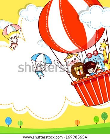 A group of animals in a hot air balloon looking at two animals in parachutes.