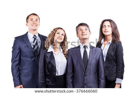 A group of attractive and successful business, ready for serious work.