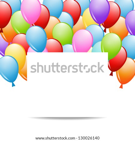 a group of balloons and a sheet of paper (raster version of the vector)