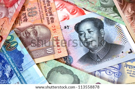A group of banknotes from eastern states - stock photo