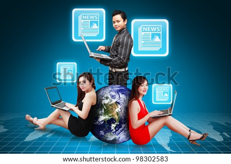 A Group of business people and News Icon : Elements of this image furnished by NASA