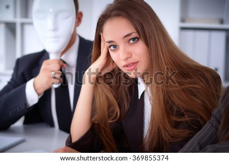 A group of business people at a meeting . They do not hear me, they dont want to understand me, business concept - stock photo