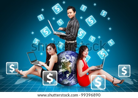 A group of business team and Money icon around : Elements of this image furnished by NASA - stock photo