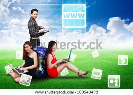A group of business team and world wide web icons : Elements of this image furnished by NASA - stock photo