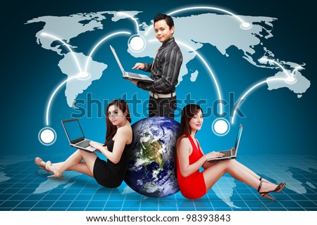 A group of Business team connected the world map : Elements of this image furnished by NASA