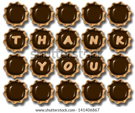 A group of chocolate praline with thank you text on them / Thank you chocolate