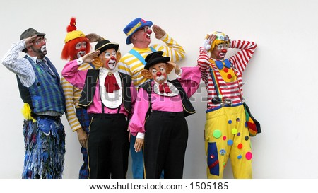 A group of clowns - stock photo